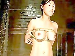 Asian Girl Trained As Slave Bondaged Balancing While Spanked Whipped By Master In The Dungeon