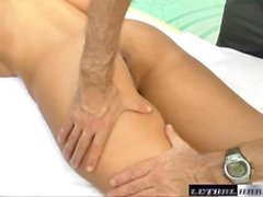 Aubrey strips for massage and fucks a big cock to relax