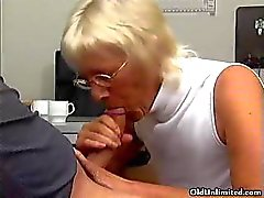 Blonde grandma sucking of a lucky young part5