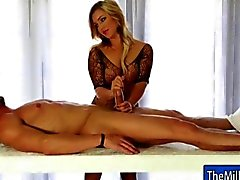 Busty blonde masseuse Cameron Dee jacks a cock