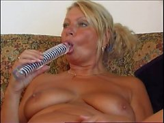 Chubby granny sucking and riding a big dong