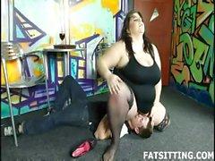BBW mistress with slave