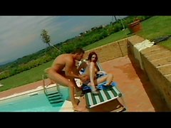 Redhead ass fucked poolside by hard cock
