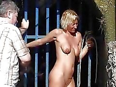 Outdoor whipping of blonde wife in hardcore public