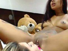 Latina blonde and ebony fuck an lick