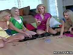 Lezzies Nikki Sammie and Nicole drink and get horny