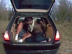 German teen fuck outdoor in car with stranger