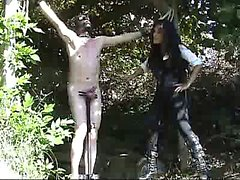 Dominatrix extreme outdoor cock and balls busting fetish