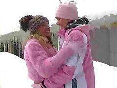 Outdoor lesbian sex in winter
