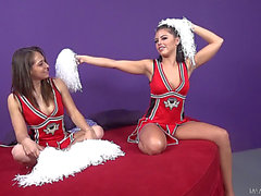 Hardcore With 2 Pornstars Clothed Up As Cheerleaders