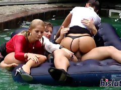 Intense reverse gangbang in the pool