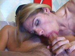 Skilful at sucking shemale tart gets anal screwing
