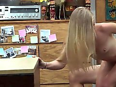 Blonde bimbo drilled by nasty pawn dude at the pawnshop