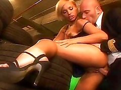 Hot blonde stewardess getting fucked in the garage
