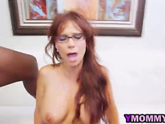 Redhead Glasses Milf Fucking Interracial Threesome