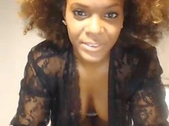 Sexy black girl, wild hair teases big tits and body