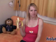 Kinky teen slides bananas in her twat