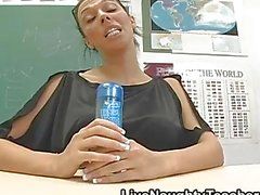Busty teacher with glasses masturbating