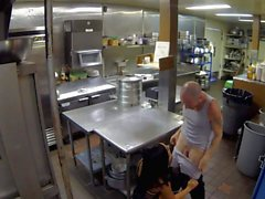 Hardcore sex in a restaurant kitchen with Gianna Nicole