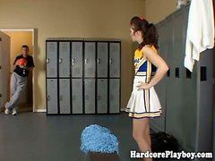 Brunette cheerleader fucks and sucks