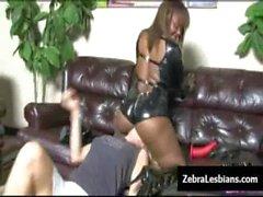 Zebra Girls - Ebony lesbian babes fuck deep strapon toys 01