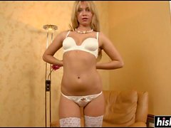 Blonde in lingerie teases her holes