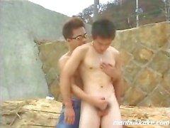 japanese teen boy gets blown outdoors
