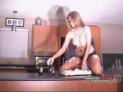 Messy crushed cake whipped cream naked striptease bikini