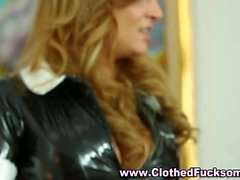 Clothed french maid threesome sex