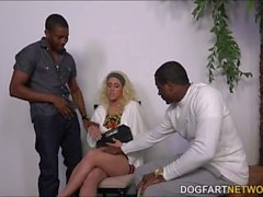 Brooke Summers gets gangbanged by horny black dudes on a casting