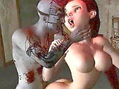 Cartoon schätzchen schlau 3D bekommen von einem Zombie hart gefickt