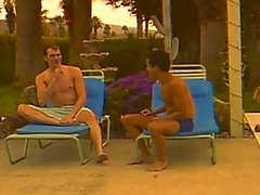 Hot white dude fucking a twink latino after a sunbath