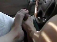 Amazing Car Footjob