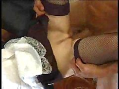 Flaming maid fucking in stockings