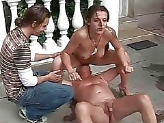 Grandpa and boy fucking and pissing on hot girl