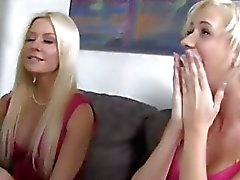 Two blondes banged by black