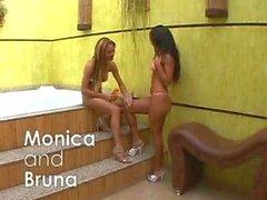 Monica and Bruna - shemale vs girl
