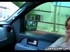 Pretty Pretty Blonde Campus Ex Girlfriend Sucking In Car