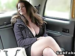 Natural huge tits Brit banged in a cab