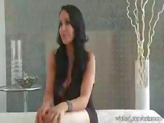 Bella is a brunette who does an interracial scene with two blokes