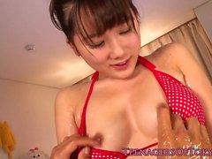 Nuru covered nippon bikini teens pussy toyed