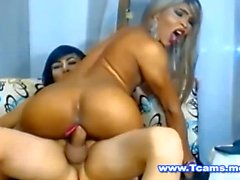 Big Ass Asian Tgirl Rides on her Tranny GF