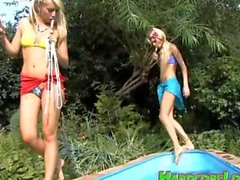 Teen girls kinky lesbian bondage play