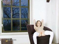 Skinny hole teasing on the armchair