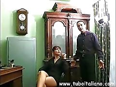 Italian blonde watches redhead toy and then get toyed by dude
