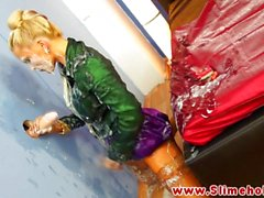 Blonde covered in cum at the gloryhole
