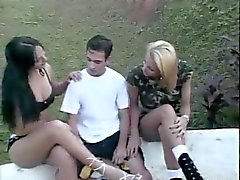 2 Trannies play with a guy