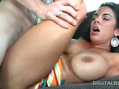 Chesty brunette amateur gets slick cunt fucked hard in bus