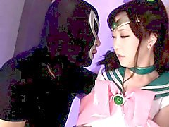 japanese teen cosplay fantasy hero Sailor Jupiter in bukkake