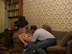 Skinny blonde likes her new stepfather so much she fucks him on the sofa